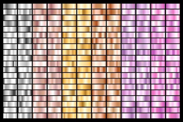 실버, 크롬, 골드, 로즈 골드 컬렉션. 청동 금속 및 자외선 그라데이션. 프리미엄 벡터