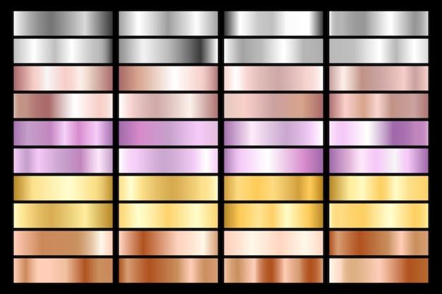 シルバー、クローム、ゴールド、ローズゴールドのコレクション。ブロンズメタリックと紫外線のグラデーション。 Premiumベクター