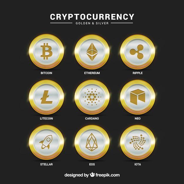 Коллекция серебряных криптовалютных монет Premium векторы