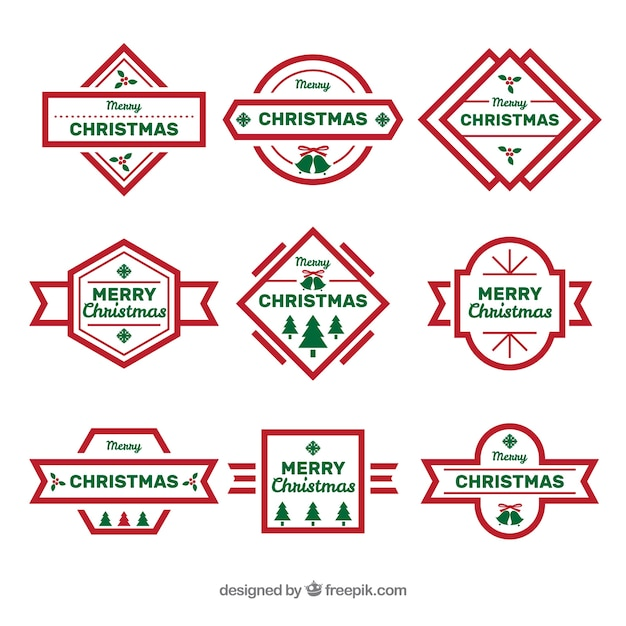 Collection of simple christmas badges