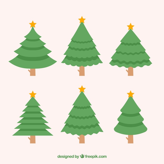 collection of simple christmas trees in different shapes free vector - Different Christmas Trees