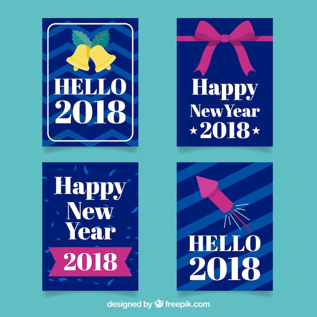 Collection of simple dark blue new year cards