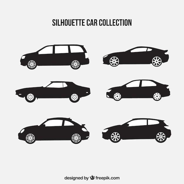Коллекция из шести силуэтов автомобилей Бесплатные векторы