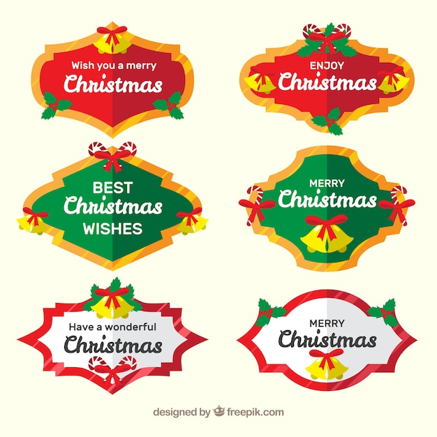 Collection of six christmas badges in bright colours