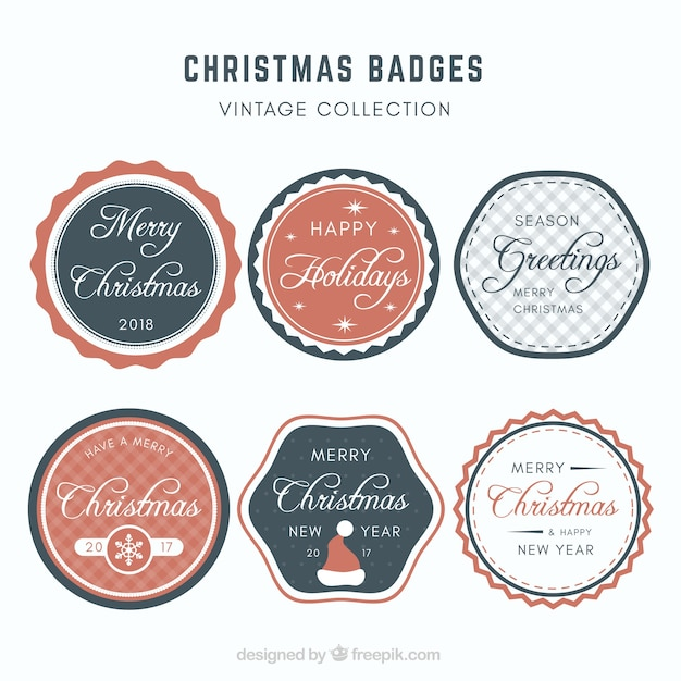 Collection of six christmas badges in retro style