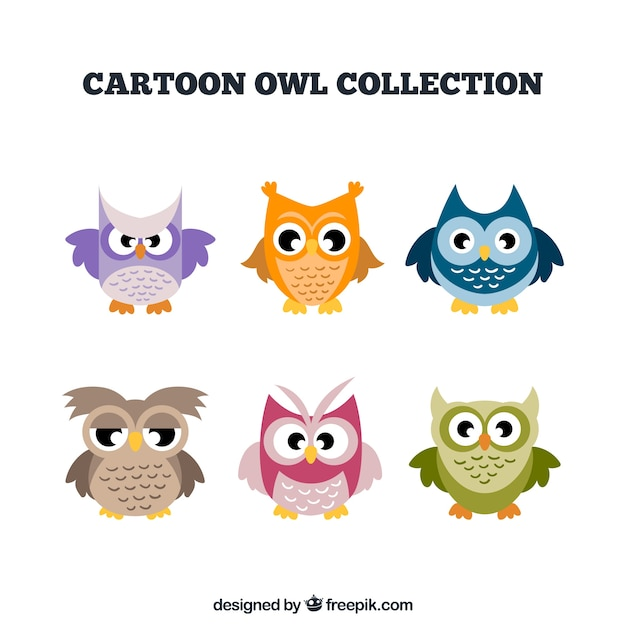 Collection of six colorful cartoon owls