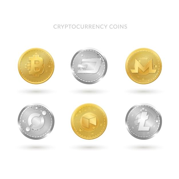 Коллекция из шести монет cryptocurrency Premium векторы