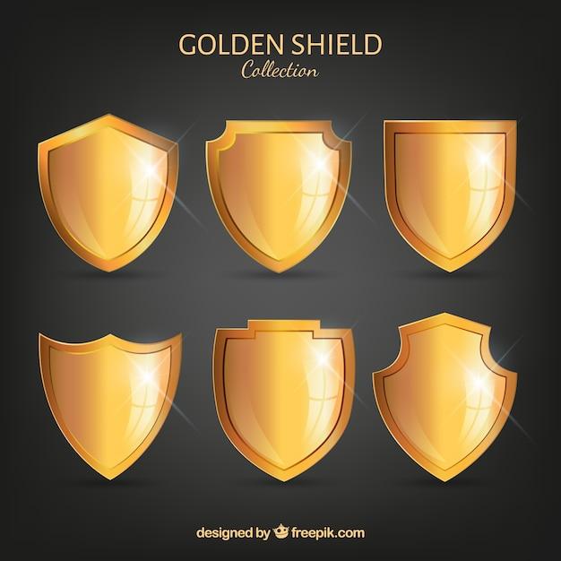 6黄金の盾のコレクション 無料ベクター