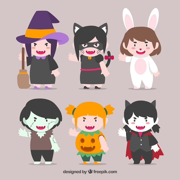 Collection of six halloween characters