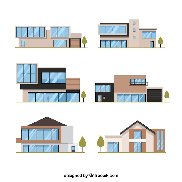 collection of six modern houses in flat design vector