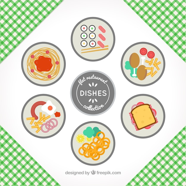 Collection of six restaurant dishes