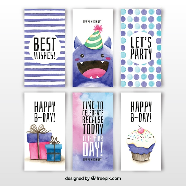 Collection of six watercolour birthday\ cards
