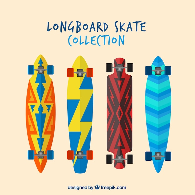 Collection of skateboard in flat design