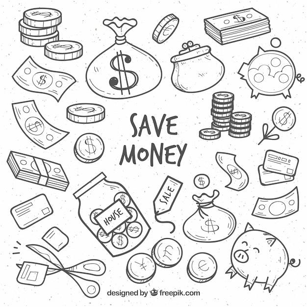 돈과 관련된 요소의 스케치 모음 무료 벡터