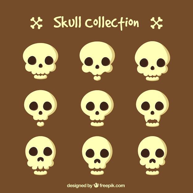 Collection of skull Free Vector