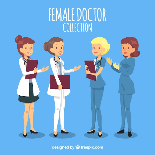 Collection of smiley doctors with flat design