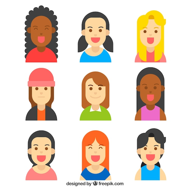 Collection of smiley female avatars