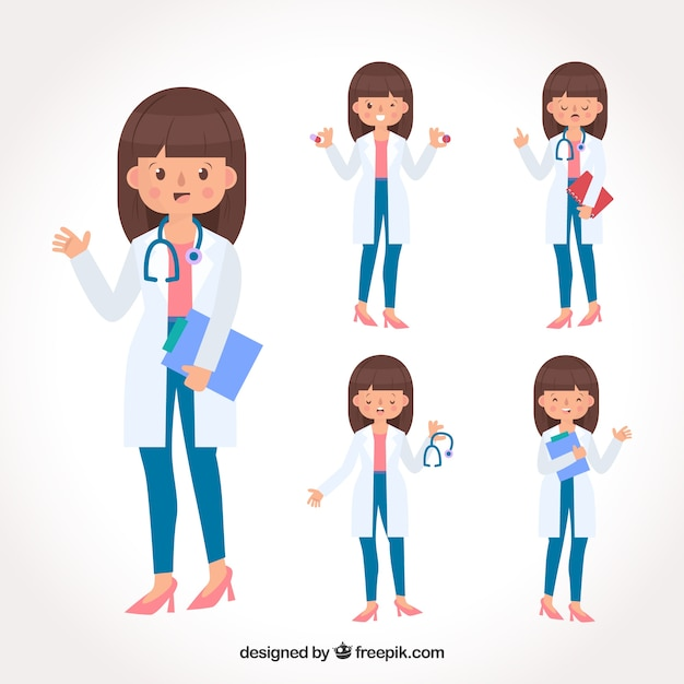 Collection of smiley female doctor with clipboard and stethoscope