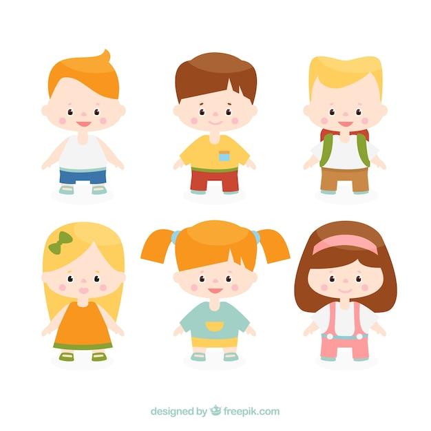 笑顔の子供たちのコレクション 無料ベクター