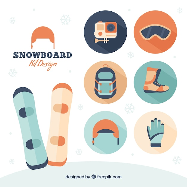 Collection of snowboard accessories in flat\ design