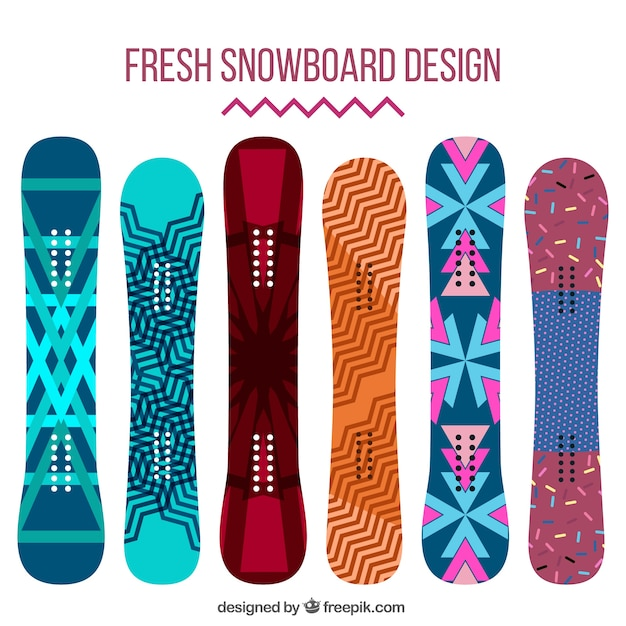Collection of snowboards in abstract\ design