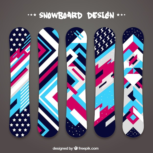 Collection of snowboards in geometric\ design