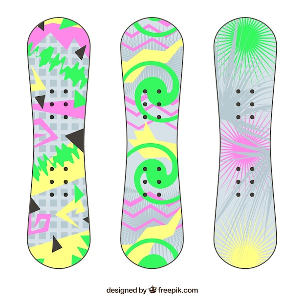 Collection of snowboards with abstract\ designs