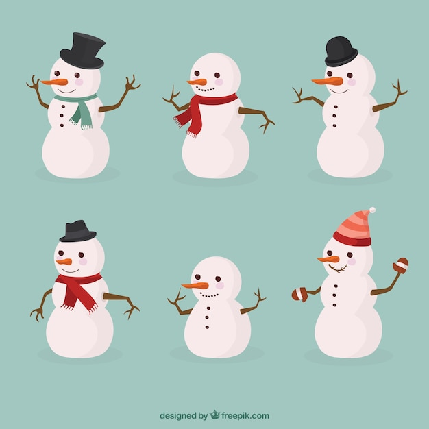 Collection of snowmen Free Vector
