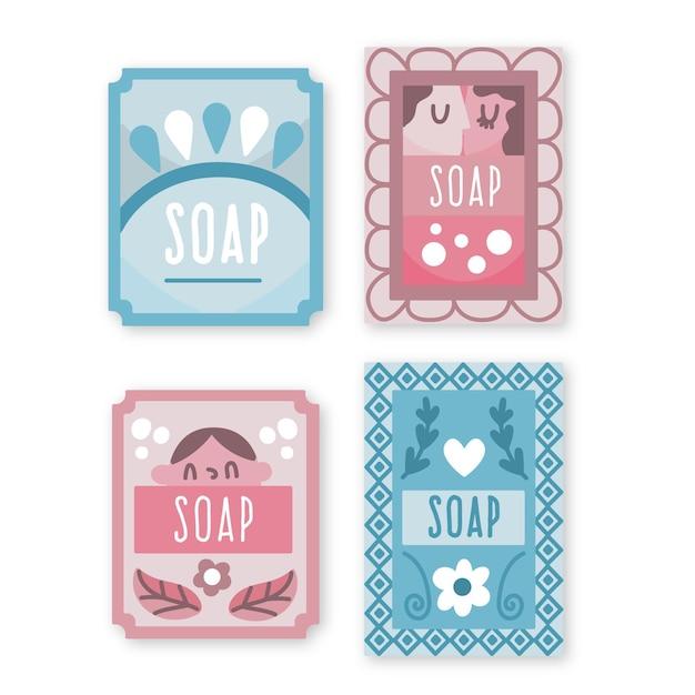 石鹸ラベルテンプレートのコレクション 無料ベクター