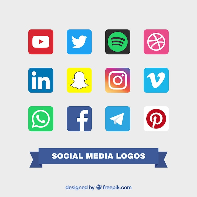 Collection of social logos color logos Free Vector