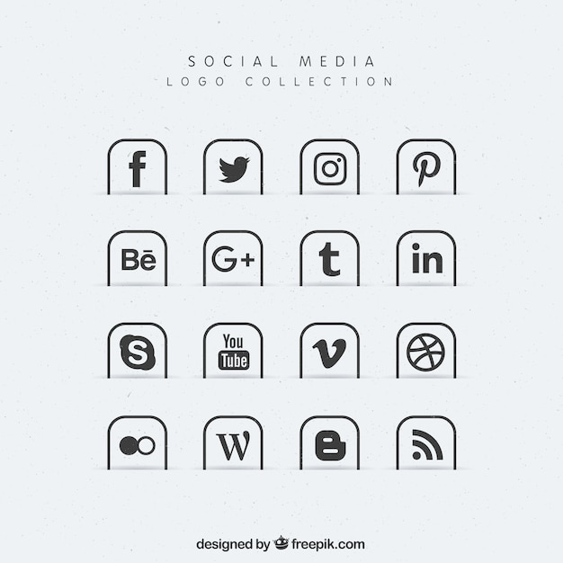 Collection of social media icons Free Vector