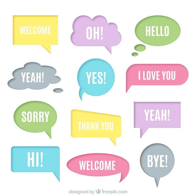 Collection of soft colors speech bubble