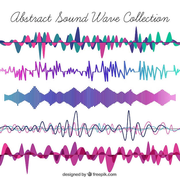 Collection of sound waves Free Vector