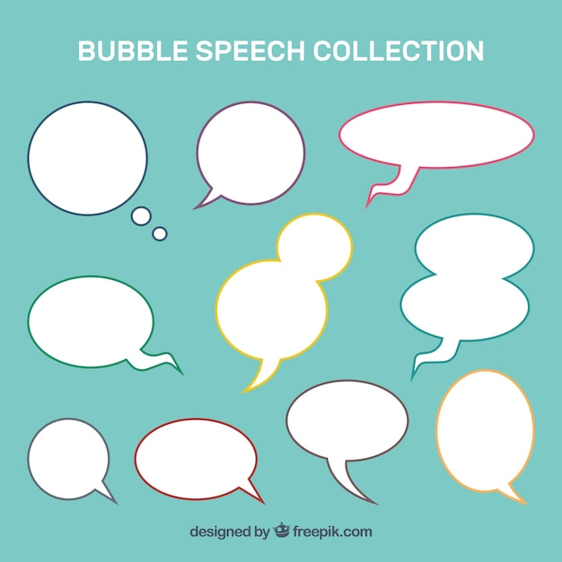 Collection of speech bubble with colored stroke