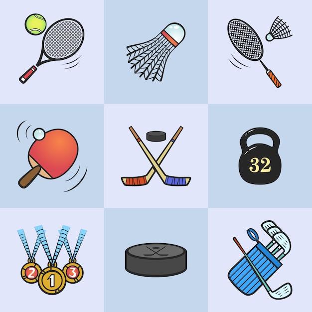 Коллекция спортивных значков. цветное спортивное снаряжение. иконки на голубом фоне. Premium векторы