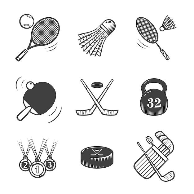 스포츠 아이콘의 컬렉션입니다. 스포츠 장비. 아이콘을 설정합니다. 프리미엄 벡터