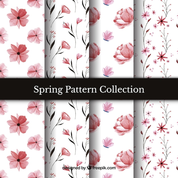 Collection of spring patterns in watercolour Free Vector