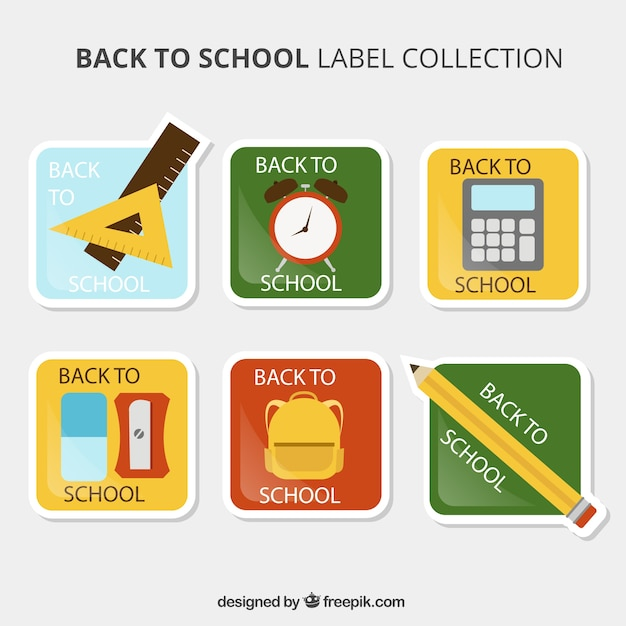 Collection Of Square Stickers For Back To School Vector
