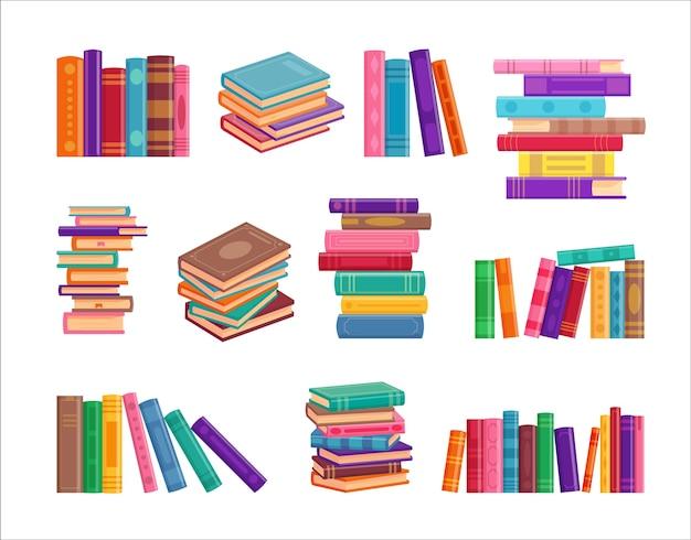 Коллекция стопки книг, изолированные на белом Premium векторы