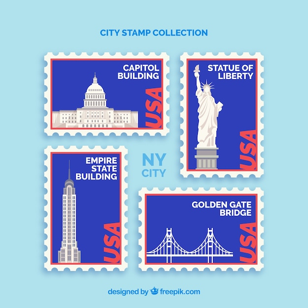 Collection of stamps with us landmarks Free Vector