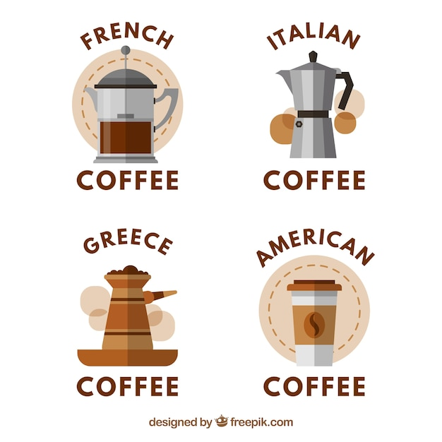 Collection of stickers with different types of coffee maker free vector