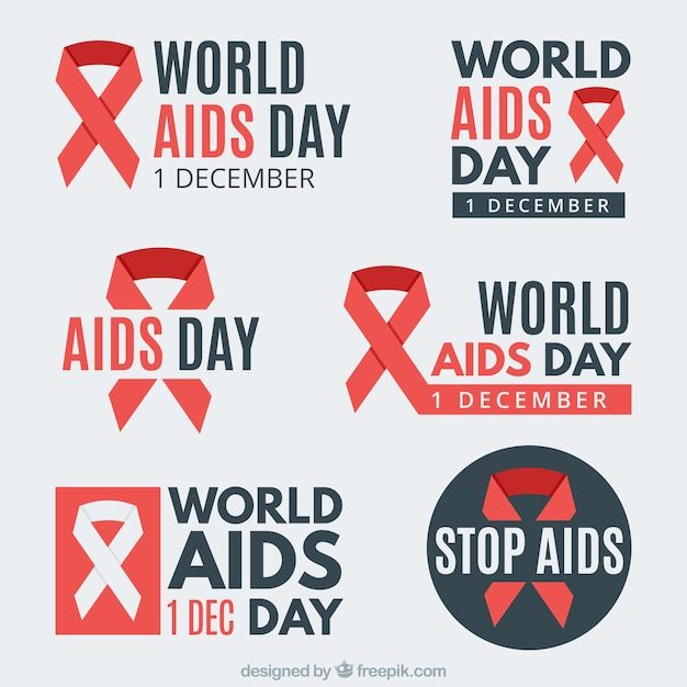 Collection Of Stickers With The Symbol Of World Aids Day Vector