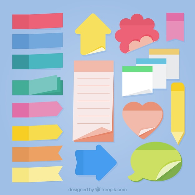 collection of sticky notes of different shapes vector free download