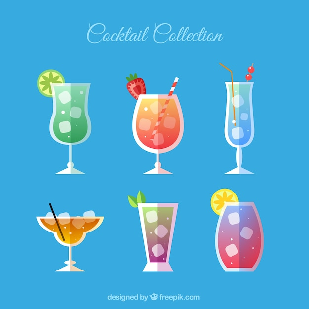 Collection of summer drink in flat\ design