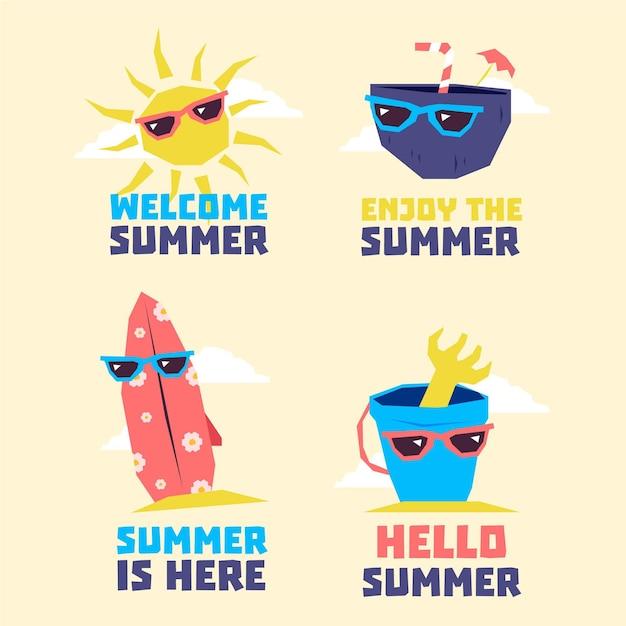 Коллекция летних элементов в темных очках Бесплатные векторы