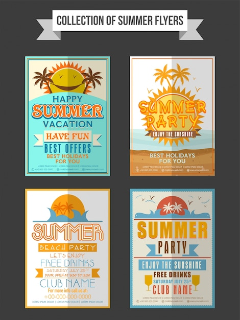 collection of summer party flyers templates or banners design