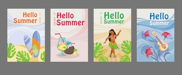 サーフボード、カクテル、女の子、ギター、海の夏のポスターのコレクション。こんにちは夏の碑文 無料ベクター