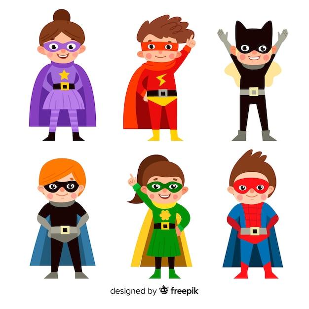スーパーヒーローの子供のコレクション 無料ベクター