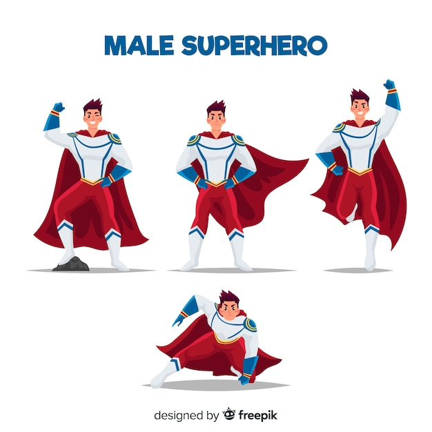 Collection of superheroes Free Vector