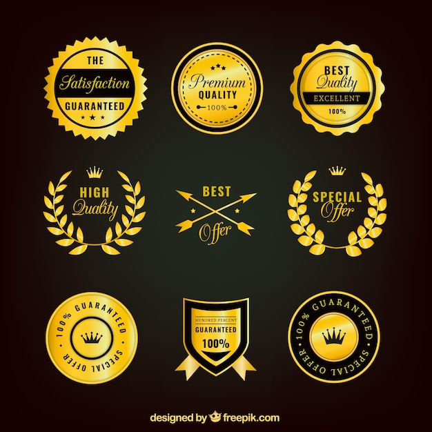 Collection of supreme quality golden stickers free vector